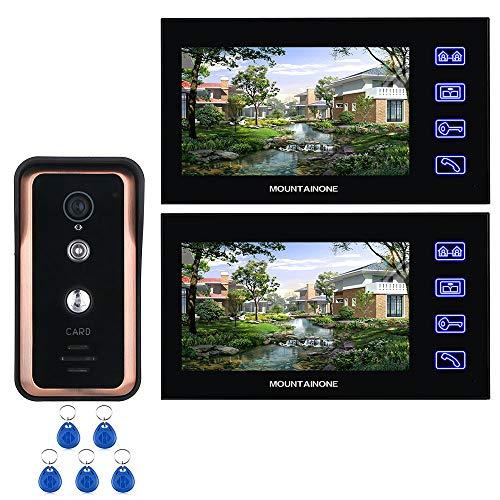 1 oder 2 Monitor 7 Zoll Touch Button Farbe Video Intercom Türsprechanlage mit RFID-Kartenleser HD Türklingel 1000TVL IR-Cut Kamera,2screens -