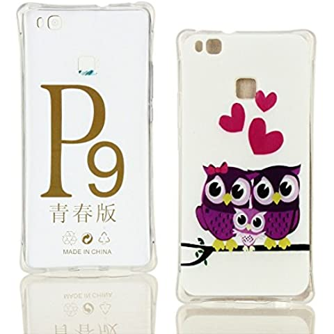 HUAWEI P9 Lite Cover DWaybox Slim Fit and Snugly Soft TPU Gel Shock-Absorption Bumper Custodias Cover per HUAWEI P9 Lite 5.2inches (Cult Loving Owl Family)