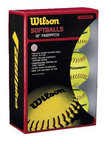 WILSON wta9106tasa-low Kork Center 12 Zoll Fastpitch Softbälle Optic gelb (1-Dozen, Einzelhandel-Paket) -