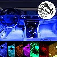 POMILE Luci Abitacolo 4x15 LED per Interni Auto con Telecomando per Musica la Decorazione 12V Illuminazione Luci Auto Interne Multifunzionali dellautomobile di Luci Interiori LED Auto Interni