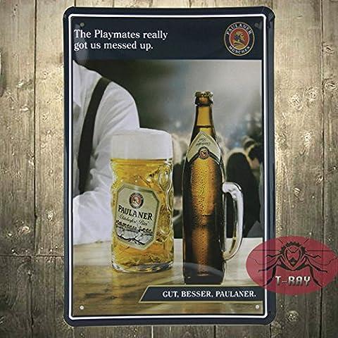 Vintage Paulaner Munich Bier cerveza alemana signo de metal porcelana raro? A-21