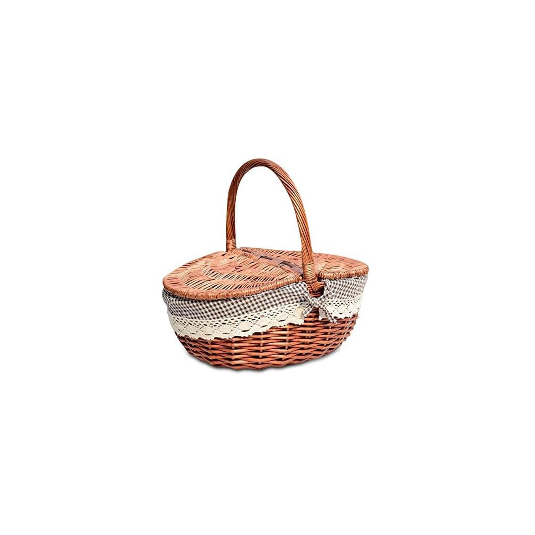 Picknickkorb aus Rattan Korb mit  Deckel