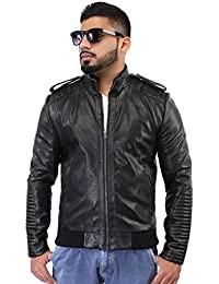 BBGJ black color pu leather rib type regular fit jacket
