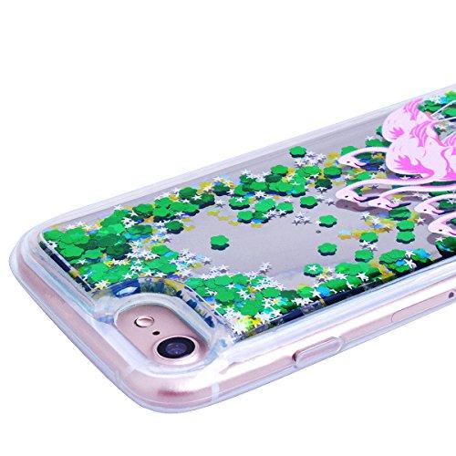 GrandEver iPhone 7 Glitzer Hülle Weiche Silikon Handyhülle Flamingo Muster Bling TPU Bumper Liquid Fließen Flüssigkeit Schutzhülle für iPhone 7 Rückschale Klar Handytasche Anti-Kratzer Stoßdämpfung Ul Rosa und Star Flamingo