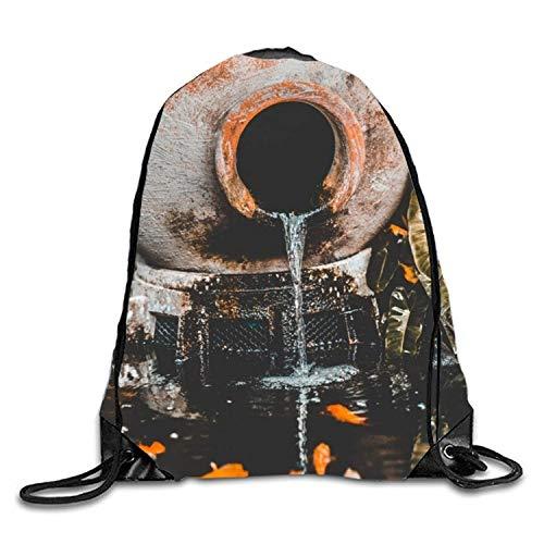 uykjuykj Tunnelzug Rucksäcke, Urn Stoneware Pottery Kids Drawstring Backpack Polyester Gym Dance Bag Urn Stoneware Pottery2 Lightweight Unique 17x14 IN -