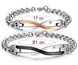 """AMDXD Modeschmuck Paar Armband mit Gravur """"I was born to love you"""" Edelstahl Link Panzerarbänder Ewige Liebe Armband - Sie und Ihn"""