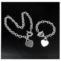 GYJUN Schöne 925 Silber Herz-Halskette Armband Set