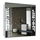 WarmieHomy Modern LED Illuminated Bathroom Mirror Cabinet [W:640mm x W:600mm x D:110mm] with Shaver Socket Demister Pad and Sensor
