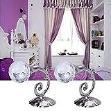 Raffhalter von Mamum - groß, Metall und Glaskristall, für Vorhänge, Wandaufhängung, 2 Stück, silber, Einheitsgröße