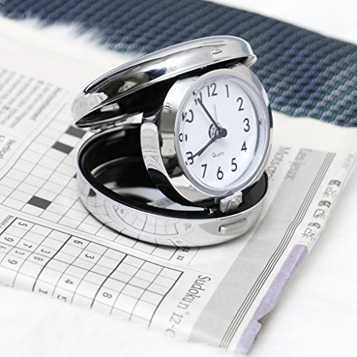 Personalised Elegant Silver Chrome Round Travel Alarm Clock Allows Up To 2 Lines Of 20 Characters Makes A Wonderful Unique Gift For Special Teacher