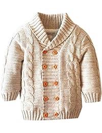 LPATTERN Cárdigan Acolchado de Terciopelo Solapa para Niños Niñas Suéter  Chaqueta de Punto Algodón Invierno Infantil 8be1f2b2c123