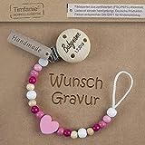 Timfanie Schnullerkette mit Gravur für Mädchen | rosa-Herz