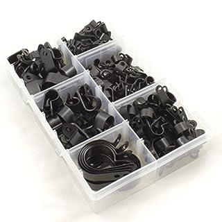 Nylon schwarz Kunststoff P Clips für Draht, Kabel, Leitungen. SORTIERT Box 200teilig