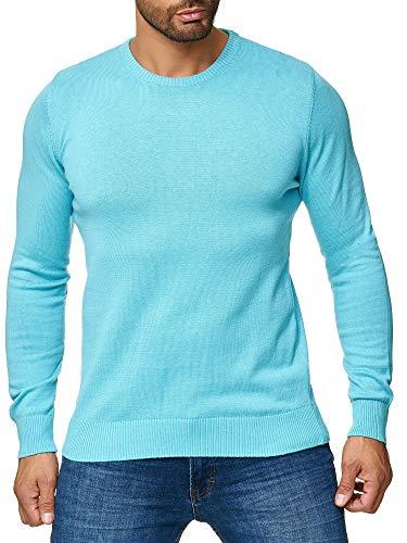MOKIES Herren Pullover mit Rundhals - Modern-Fit - Hochwertige Baumwollmischung - Feinstrick-Pullover - Türkis L