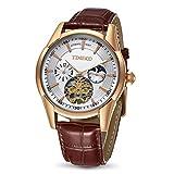 Time100 Armbanduhr Herren Automatik Leder Braun Herrenarmbanduhr Automatik Wasserdicht Chronograph Rosegold #W60025G.03A
