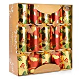 10 x Deluxe Grande Crackers di Natale - Oro rosso, verde e con Holly design - Categoria 1
