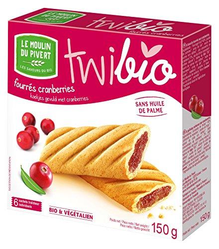 Le Moulin Du Pivert - LE MOULIN DU PIVERT - Biscuits Twibio fourrés Cranberry bio 150 g - 6 biscuits en sachets fraîcheur - Sans huile de Palme - Produit en France