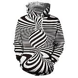 Styledress Herren Kapuzenpullover Sweatjacke Pullover 3D Drucken Hoodie Sweatshirt Men's Langarm Sweatshirt Hooded Pullover Hoodie mit Kapuze T-Shirt Herbst Winter (Schwarz, 3XL)