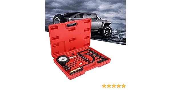 EBTOOLS 17-Piece Compression Tester Compression Tester Compression Meter 0-1000PSI Motor Cylinder Pressure Tester Kit for Car Tractor Diesel