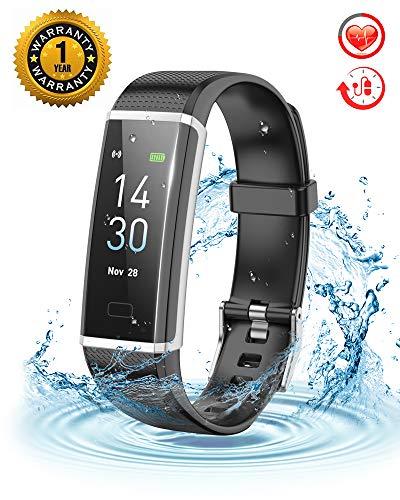 and Wasserdicht IP67 Fitness Tracker Pulsmesser Fitness Uhr Schrittzähler Schlafmonitor Aktivitätstracker 0.96 Zoll Farbbildschirm Anruf SNS SMS für Damen Herren ()