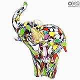 Figura de elefante-de cristal de Murano hecha a mano-Original cristal de Murano OMG