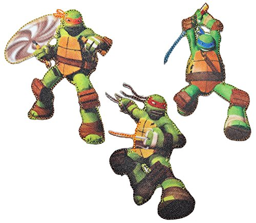 2 tlg. Set: Bügelbilder - Teenage Mutant Ninja Turtles - 5,5 cm * 9 cm - Aufnäher Applikation - gewebter Flicken Schildkröte Turtle