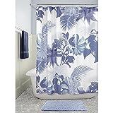 InterDesign Watercolor Fern rideau douche, rideau baignoire lavable 183,0 cm x 183,0 cm en polyester, rideau de bain avec motif fougère, bleu/coloré