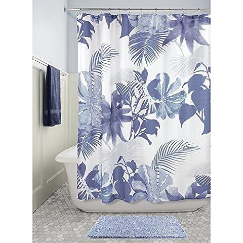 InterDesign Watercolor Fern Duschvorhang | waschbarer Duschvorhang mit natürlichem Farn-Motiv| 183,0 cm x 183,0 cm großer Duschvorhang | Polyester blau/bunt