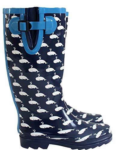 A&H Footwear ,  Mädchen Damen Arbeits-Gummistiefel Whale Navy/White