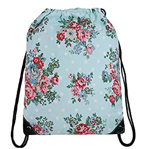damen beutel rucksack turnbeutel mit gro e blumen aus nylon hell blau bunt koffer. Black Bedroom Furniture Sets. Home Design Ideas