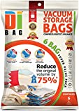 DIBAG ® 6 Bags Pack (100 x 80 cm) Vacuum Compressed Storage Space Saver Bags for Clothing, Duvets, Bedding, Pillows, Curtains & More.