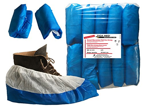 Überschuhe Einmal Tiga-Med Profi mit Antischrutschsohle 100 Stück (2x50) extradick 9gr. Einmal- Einweg- Schuhe Schuhüberzieher Tiga Premium-Profi