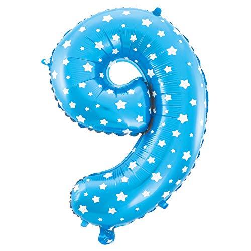 MC-Globo Gigante Número 9 De Foil Color Azul con Estrella para Fiestas de Cumpleaños 65cm