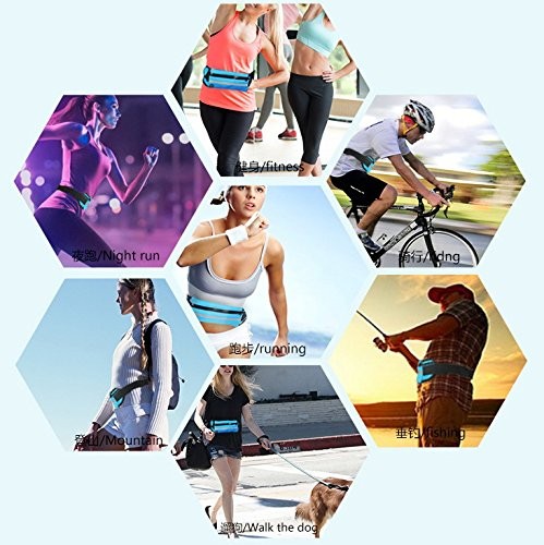 Smile YKK Damen/Herren Sport Running für 4-6 Inch Handy Taillentasche Hüfttasche Bauchtasche Wasserdichte Gürteltasche Hellblau