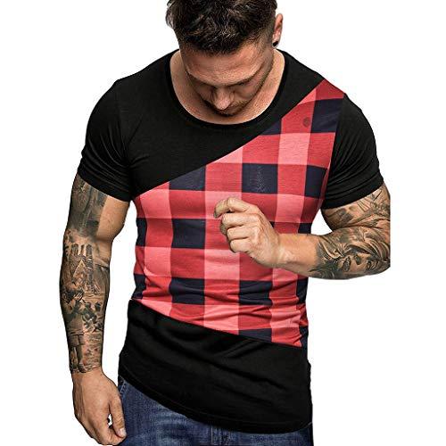 Saihui T Shirt Herren Rundhals Kurzarm T-Shirts Slim Fit Kurzarm Shirt Bluse Mit Rundhalsausschnitt Hoodie-Sweatshirt (XL, Rot)