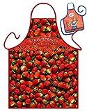 Erdbeeren Strawberries Fields - Fun Motiv Schürze - mit kleiner Mini-Schürze als Präsent