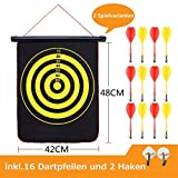 FYX Magnetspiel Dart OHNE Spitze - mit 2 Spielvarianten - für Kinder & Erwachsene - drinnen und draußen Spiel - Dartspiel - Wurfspiel - Dartboard/Dartscheibe/magnetisch (42cm*48cm)