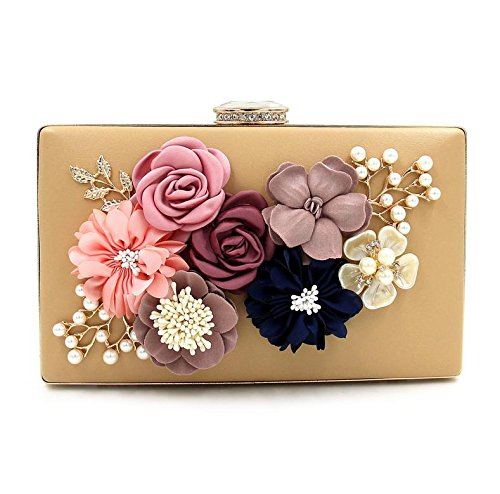 WYB Abendessen Bag/Flower Glasperlen Stickerei Clutch/DIAMANT-Tasche/Pearl Abendtasche/Party Messenger Bag Gold