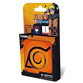 ABYstyle Abysse Corp_ABYCOS007 Naruto Shippuden-Set 4 Coasters Emblems, Multi Colour