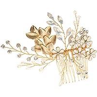 Blesiya Peine de Pelo Lujo Cristal Adorno para Casamiento Nupcial de Color Dorado de Vidrio Hoja Floral