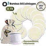 O³ Stilleinlagen waschbar // 12 Bambus Einlagen + Wäschenetz + Baumwollbeutel // Reusable Bamboo Nursing Pads // Wiederverwendbar