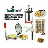 Trackindia Combo Of Stainless Steel Kitchen Press & Stainless Steel Puri Press With Stainless Steel Mendu Wada Maker.