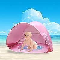 Tienda de Playa para Bebés,Oummit Pop-up Tienda de bebé con Pequeña Piscina Automática plegable Tienda Portátil Protección Solar Anti UV 50+ Muy Adecuado para Vacaciones en la Playa.(Rosa)