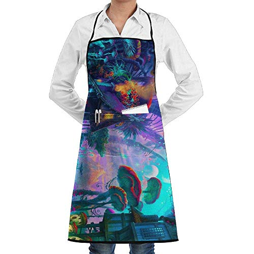 Lady Psychedelic Kostüm - Nature Psychedelic Mushroom Planet Schürze Lace Adult Mens Womens Chef Adjustable Polyester Long Full Black Cooking Kitchen Schürzes Bib Pockets Restaurant Baking Crafting Gardening BBQ Grill