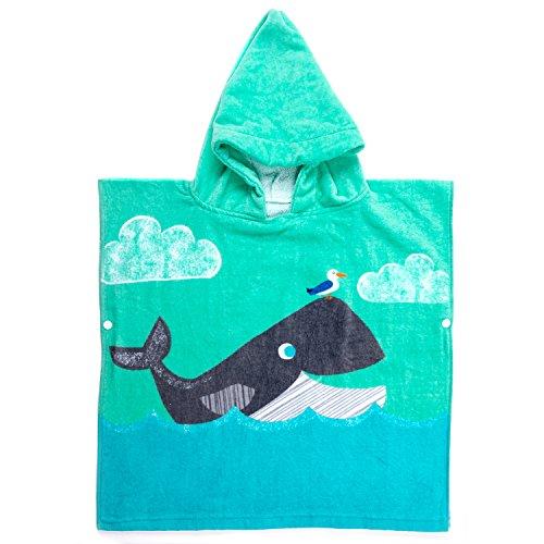 Florica Kinder Baumwolle Poncho Kapuzen Badetuch Bademantel Schwimmen Strand Tuch Weich Trocknend Cartoon für Mädchen Jungen (Wal, 120cm x 60cm)