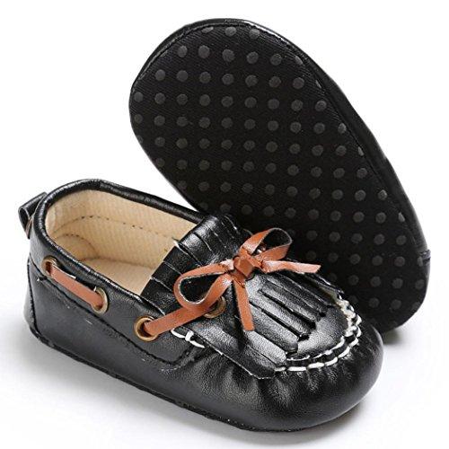 BZLine® Baby Neugeborenen Leder Krippe weiche Sohle Schuhe Sneakers Schwarz