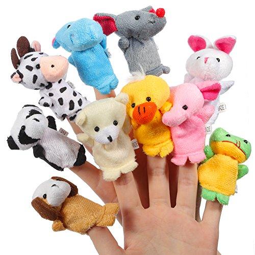 ThinkMax Fingerpuppen Baby, 10 Stück Fingerpuppen Tiere Set für Baby und Kinder