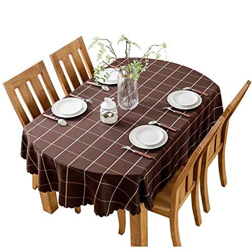 Brown Ovalen Esstisch (Tischdecke Rotbrauner Lattice Table Cover Oval Wasserdicht Easy Clean für Couchtisch Esstisch (Farbe : Brown, größe : 140 * 200cm))