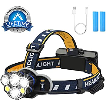 Lightess USB Rechargeable LED Head Torch LED Headlamp Superhell Waterproof Headlamps XML-T6 LED 800LM 7W for Outdoor Running Hiking Bicycle Driving Camping Reading USB Cable Included