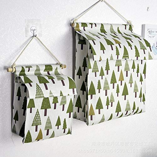 sikexia Baumwolle Hanf Hängen Tasche Mehrschicht-Wand-Aufbewahrungstasche Tür Hängentasche Tasche Tasche 35X30X12Cm Kleiner Baum Eins